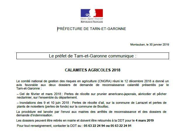 Calamités agricoles 2018